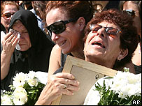 Relatives of Helios air crash victims at memorial service