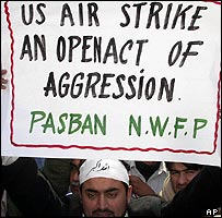 Pakistani man protests the US missile attack