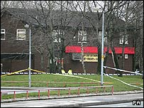 The scene of the shooting in Salford