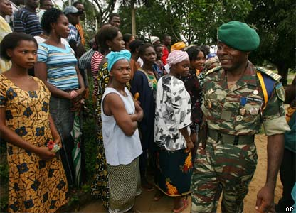 Cameroon soldier greets anxious residents