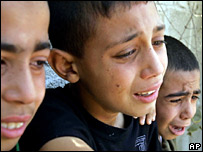 Palestinian boys crying