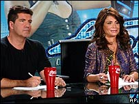 American Idol judges Simon Cowell and Paula Abdul
