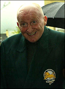 Jimmy Johnstone, wearing a 'Lisbon Lions' blazer, pictured in April 2004