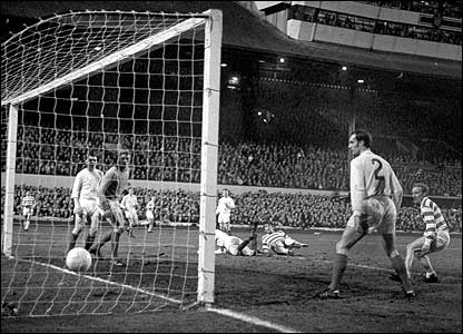 Jimmy Johnstone (far right) in action against Leeds United in the 1970 European Cup semi-final