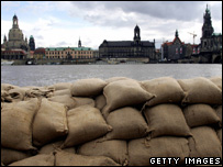 Sandbags protecting a river bank (Getty Images)