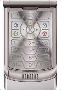 Close-up of Motorola Razr phone, Motorola