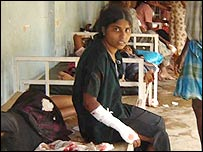 A girl injured in the bombing in Mullaitivu (picture: TamilNet)