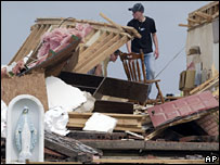 Remains of a home hit by one of several tornadoes near St Mary, Missouri