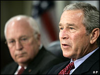 Vice-President Dick Cheney listens to President Bush speak, 14 Aug 2006