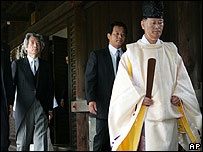 Japanese Prime Minister Junichiro Koizumi visits the shrine on 15 August