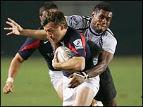 Dan Luger in action for the England Sevens side in February.