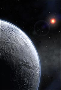 Artist's impression of the icy &quot;super-Earth&quot; (Image: ESO)