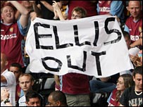 Villa fans protest against Ellis at a pre-season friendly