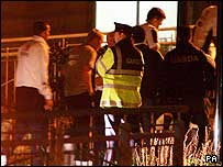 Irish police guarding team members at the hotel after the incident