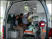 Auseng Siariknut in an ambulance after being shot