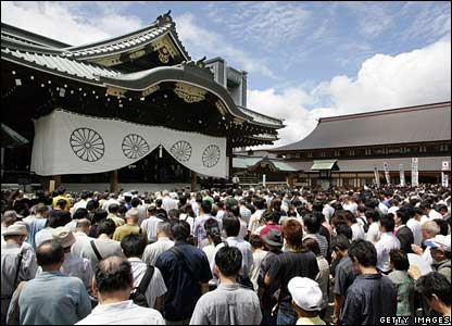 Japanese people pray at the shrine on the anniversary of the World War II surrender