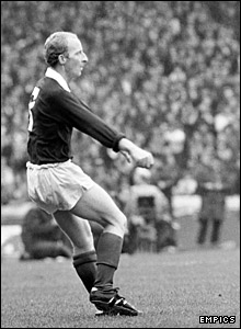 Jimmy Johnstone in action for Scotland against England at Hampton Park in 1974