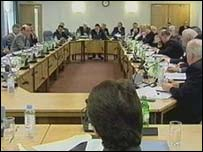 The last Policing Board pictured at one of its meetings