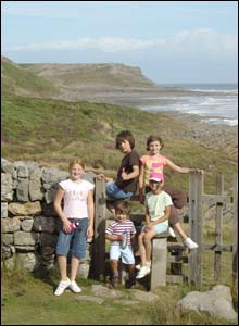 Angharad, Ffion, Tom, Bethy and Matty take a breather by Overton Cliffs (Gareth Jones)