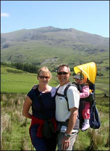 Nigel Owens on honeymoon with wife Karen and daughter Seren in Snowdonia