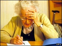 Woman doing Alzheimer's test