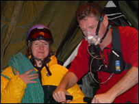 Two of the medics demonstrating the equipment they will use when they climb Everest