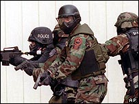 Police Swat team on training exercise