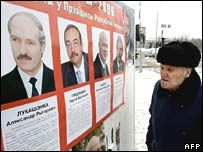 Poster of candidates in Belarus election