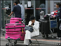 A passenger waiting at Heathrow