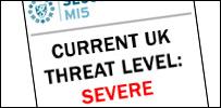 "MI5 website showing UK terror threat level as ""severe"""