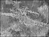 A Mars Odyssey picture of the Valles Marineris on Mars