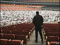 Katrina displaced in Houston's Astrodome in September 2005