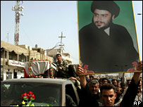 The funeral of a Mehdi Army member in Sadr City in Baghdad