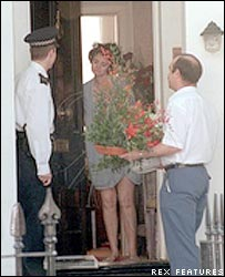 Cherie Blair answers the door of her Islington home the day after Labour's election victory in 1997