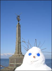Andrew Church from Sheffield spotted this snowman on the front at Aberystwyth