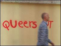Homophobic graffiti. Copyright Victim Support