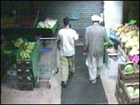 CCTV footage showing Mr Rauf (left)