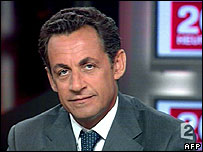 Nicolas Sarkozy appearing on France 2 TV channel