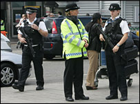 Police outside Heathrow Airport