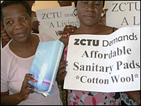 Women in Zimbabwe demanding affordable tampons