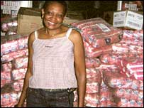 ZCTU's Thabitha Khumalo in front of sanitary towel products in South Africa