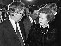 Geoffrey Howe and Margaret Thatcher in 1981