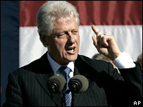 Former US President Bill Clinton addresses a Democratic Party rally, 15 August 2006