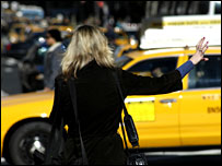 Woman hails taxi in New York (file picture)