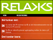 Screen shot of the Relakks website