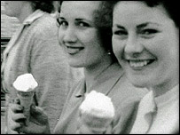 Women smiling in the 1950s