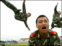 Chinese paramilitary soldiers train in Shanghai, China, Tuesday July 25, 2006