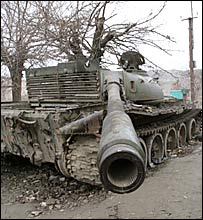 An old tank in Narin district