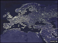 Satellite image of Europe at night (Image: Nasa)