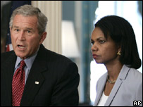 US President George W Bush and Secretary of State Condoleezza Rice